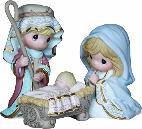 Precious Moments, Christmas Gifts, Come Let Us Adore Him , 3 Piece Nativity Set, Bisque Porcelain Figurines, 131062