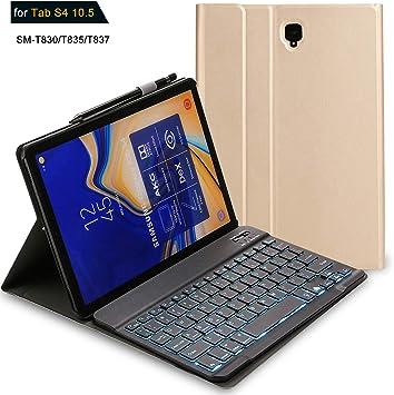 Funda Para Teclado Samsung Galaxy Tab S4 Funda Protectora Completa Con Función Atril Desmontable Teclado Bluetooth Inalámbrico Delgado Compatible Con Tabletas Samsung Galaxy Tab S4 Sm T830 T835 T837 Computers Accessories
