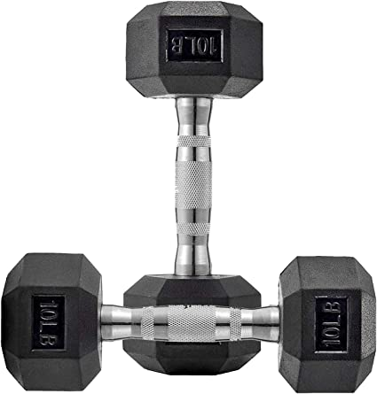 Pair Of 5 Lb Dumbbells 10 Lbs Total Hex Weights Gym Equipment Workout