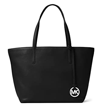 adcc77c42d4677 Amazon.com: MICHAEL MICHAEL KORS Izzy Large Leather Tote (Black): Clothing