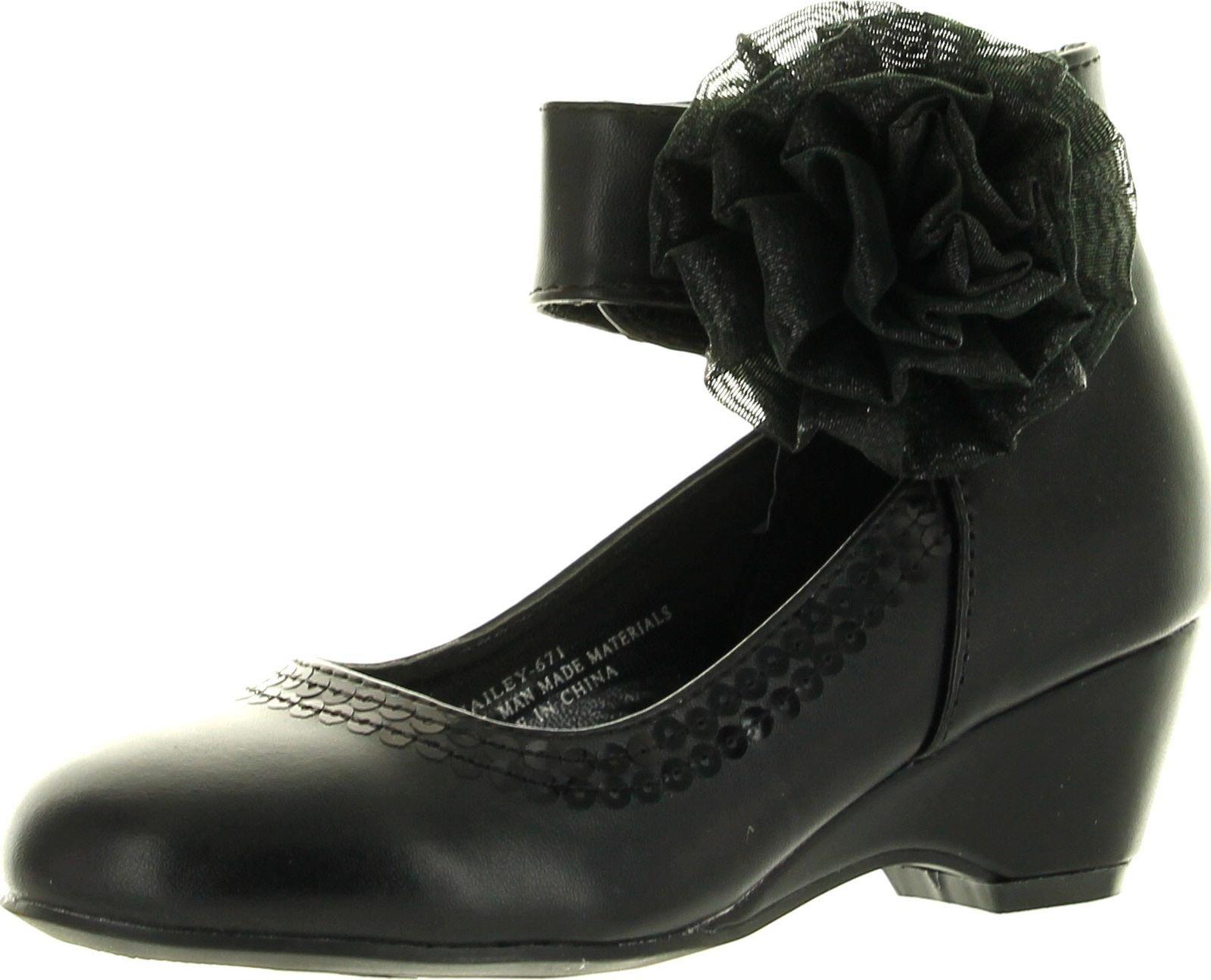 Leatherette Chiffon Bow Ankle Cuff Kiddie Heel Wedge Sandal (Toddler/Little Girl/Big Girl) BA62 - Black (Size: Little Kid 12)