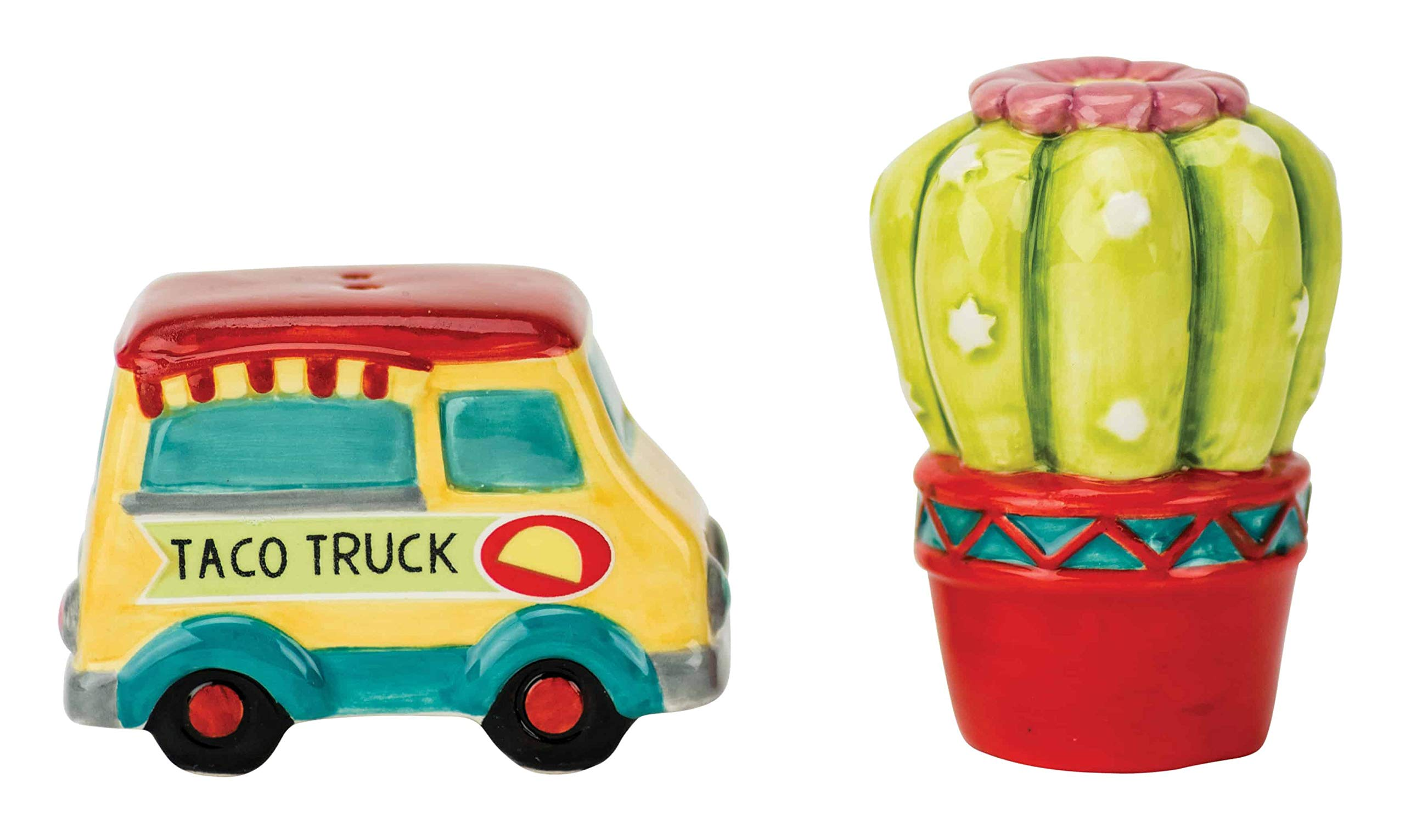 Boston Warehouse 34395 Taco Truck and Cactus Salt and Pepper Shaker Set