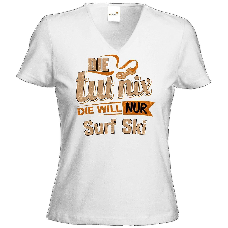 getshirts - RAHMENLOS® Geschenke - T-Shirt Damen V-Neck - Die tut nix - Die will nur Surf Ski