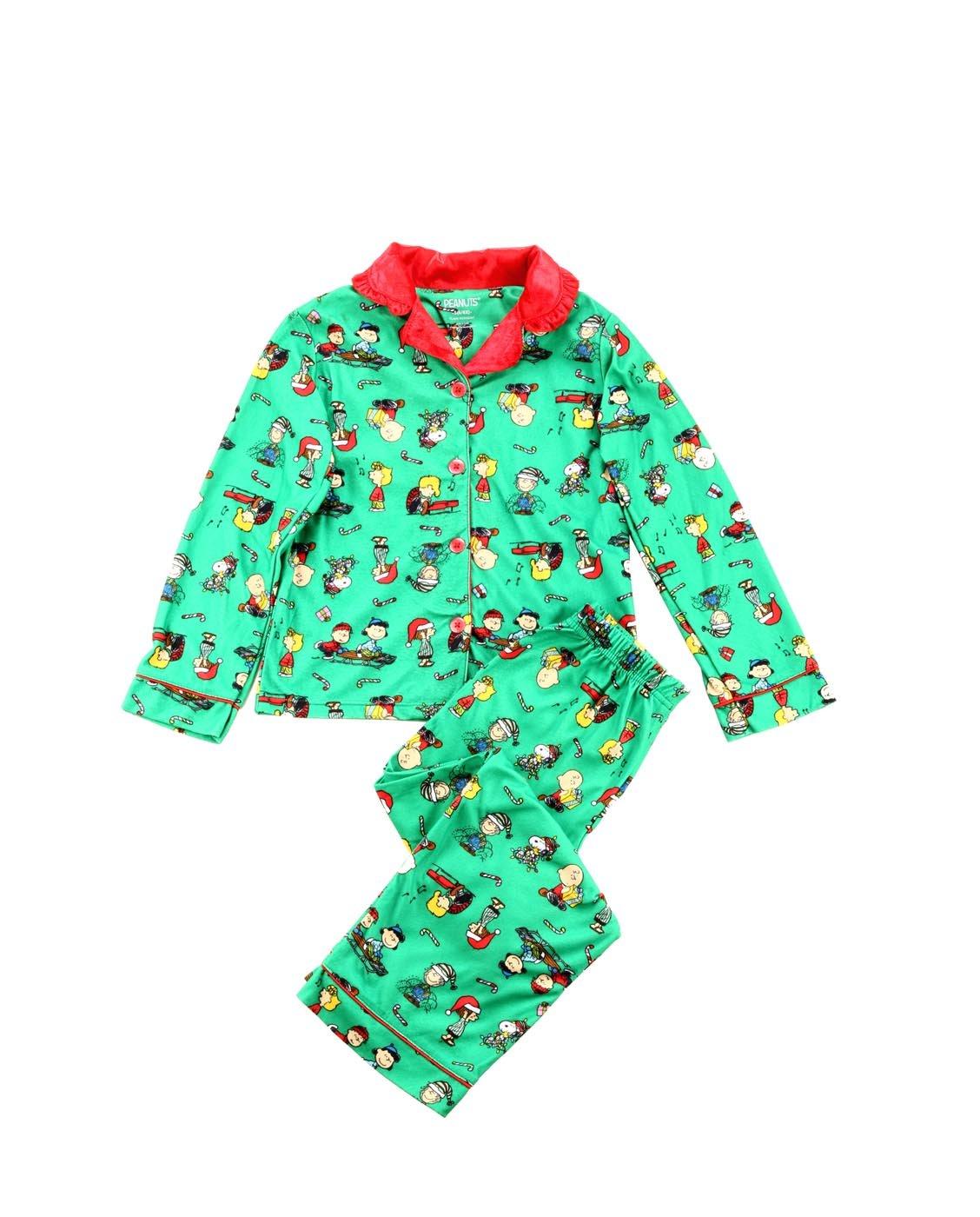 Peanuts Big Girls' 2pc Holiday Sleepwear Coat Set, Green, Small (6-6X)