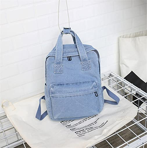 MaxxCloud Girls Vintage Denim Backpack Jeans Daypack Travel Bag Rucksack Light Blue