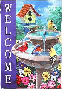 Welcome spring and summer bird bathroom outside vertical double-sided Garden Flag 12x18, cardinal Birdhouse flag, flower and bird garden outdoor lawn farmhouse decoration