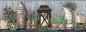 York Wallcoverings Country Keepsakes Garden Border Removable Wallpaper, Grey/Blue, Grey, Black, Green, Purple, Cream, Aqua