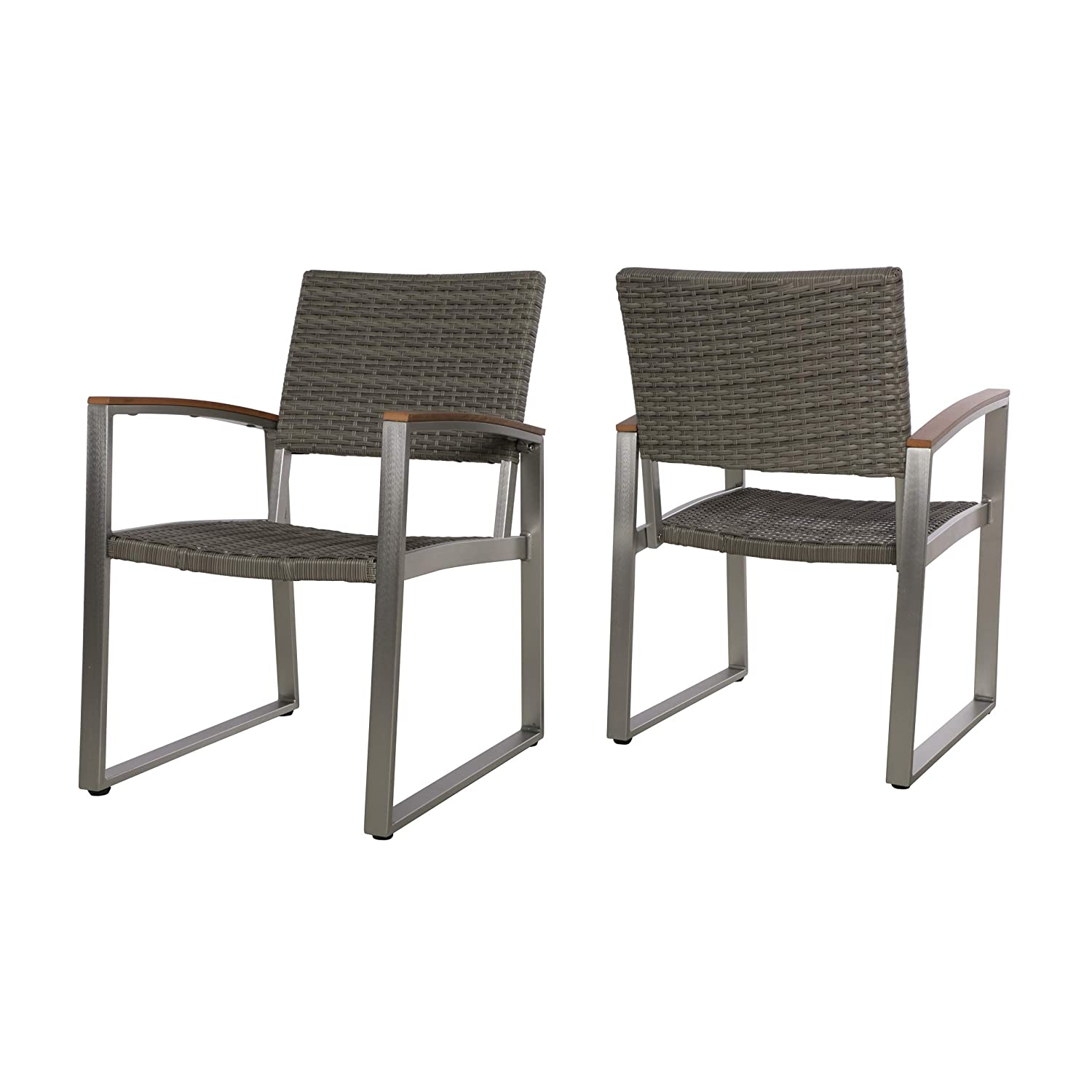 Amazon com aubrey patio dining chairs aluminum wicker seats faux wood arms set of 2 dark gray with gray and natural finish garden outdoor