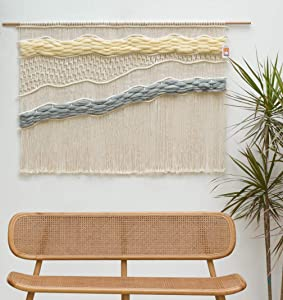 "Flber Macrame Wall Hanging Handwoven Large Curtain Wall Décor, 52""Wx40""L"