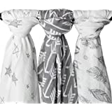 Kids N' Such Extra-Large Muslin Baby Swaddle Blanket, Wanderer, 47 x 47, 3 Pack