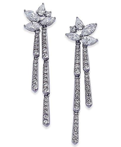 37f446e32a3fc Amazon.com: Danori Silver-Tone Marquise Cluster Dangle Drop Earrings ...