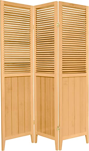 Oriental Furniture 6 ft. Tall Beadboard Divider – Natural – 3 Panels