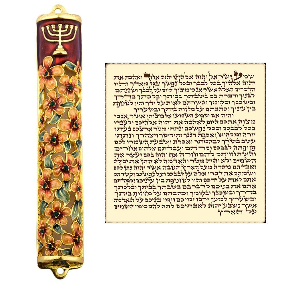 Enamel MEZUZAH CASE with Scroll Hebrew Parchment Menorah Judaica Door Mezuza Made In Israel 9 cm by Talisman4U