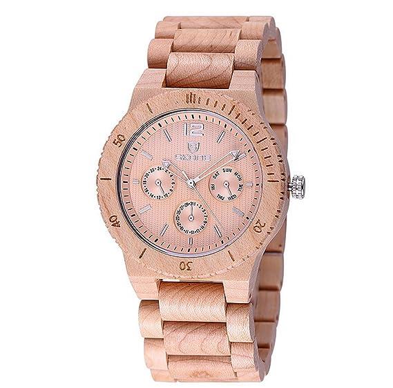 Skone marca hombres relojes de madera moda madera pulsera para hombre lujo multifunción relojes (Beige