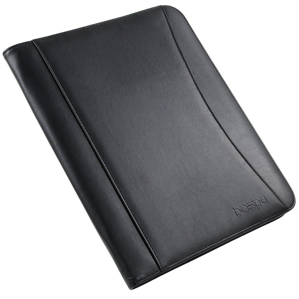 Bospa Padfolio Portfolio Folder/Multi function folder /Business Folder with Zippered Closure and Professional Leather