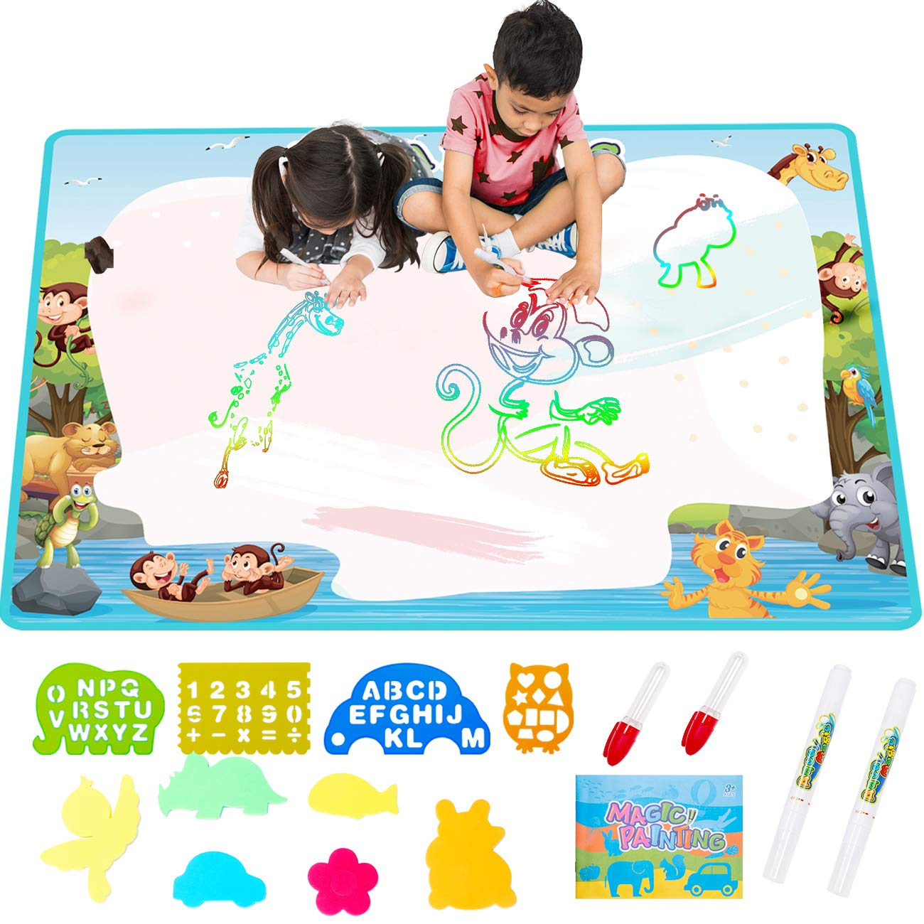 FREE TO FLY Extra Large AquaDoodle Water Drawing MagicMat 2019 Updated Color Painting Doodle Board Aqua Doodle Magic Mat with No Mess, Educational Kid Toys Gift for Boys and Girls Age 3 4 5 6 7 by FREE TO FLY