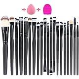 iLoveCos 20 Pcs Makeup Brush Set Professional Makeup Brushes Face Eye Shadow Eyeliner Blush Lip Foundation Brush Powder Liquid Cream Cosmetic Brushes