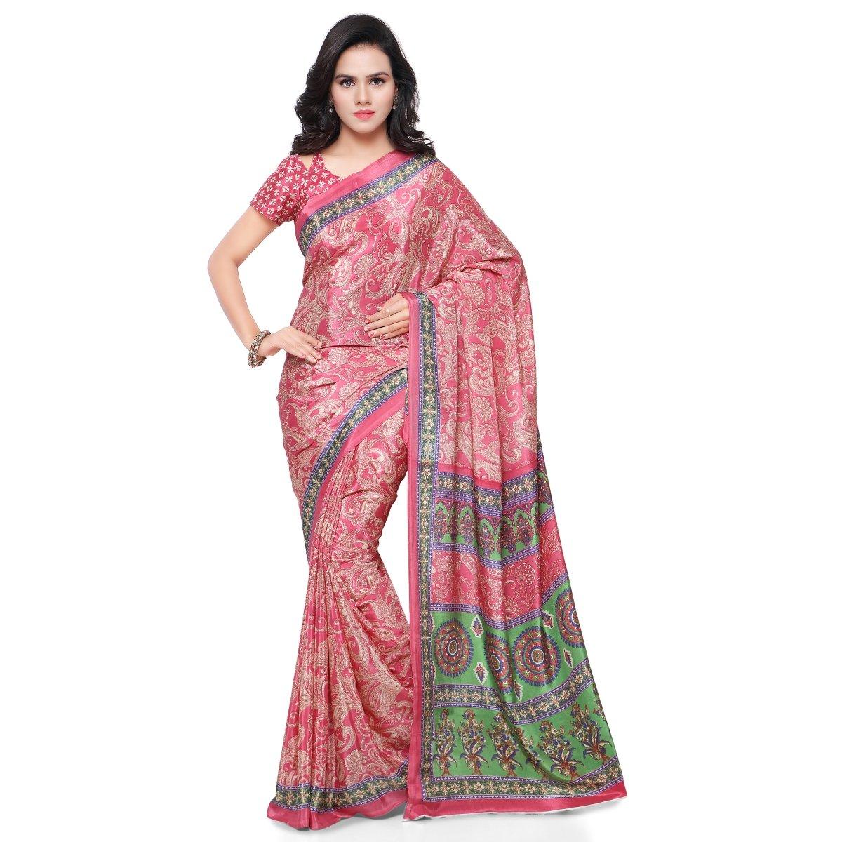 Triveni Jute Silk Printed Sarees(TSSU13304_Pink) Triveni Sarees