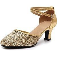 SWDZM Zapatillas de Baile para Mujer/Zapatos de Lentejuelas/Tacón