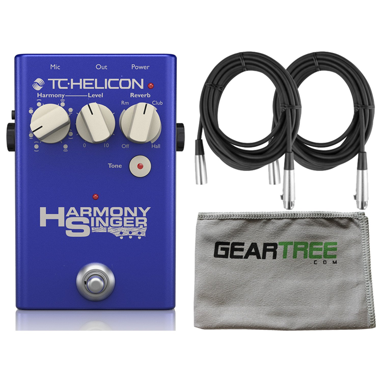 TC Helicon 996371001 Harmony Singer 2 Vocal Effects Pedal XLR Cables and Zorro Sounds Effects Cloth 4334435188