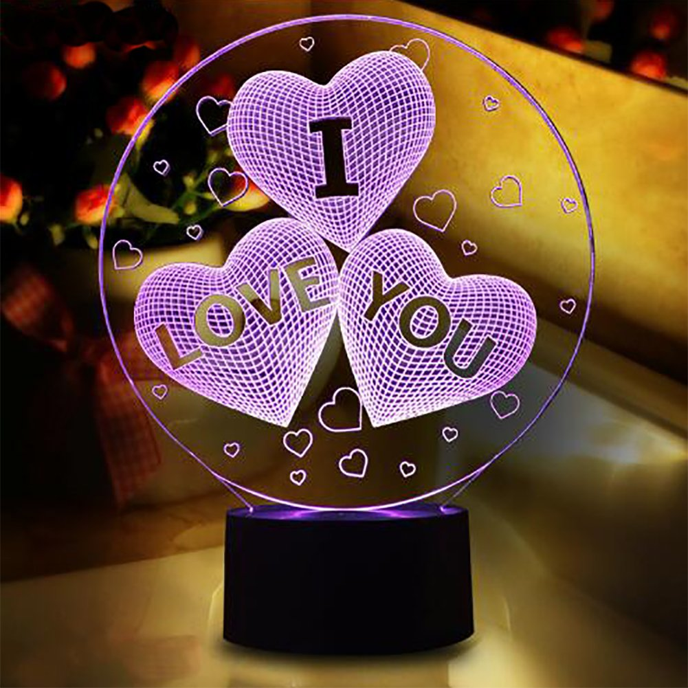 YKL WORLD I Love You Heart 3D LED Illusion Lamp, Night Light 7 Colors Changing Touch Switch Table Desk Lamps Fun Unique Birthday Valentine's Day Gifts for Kids