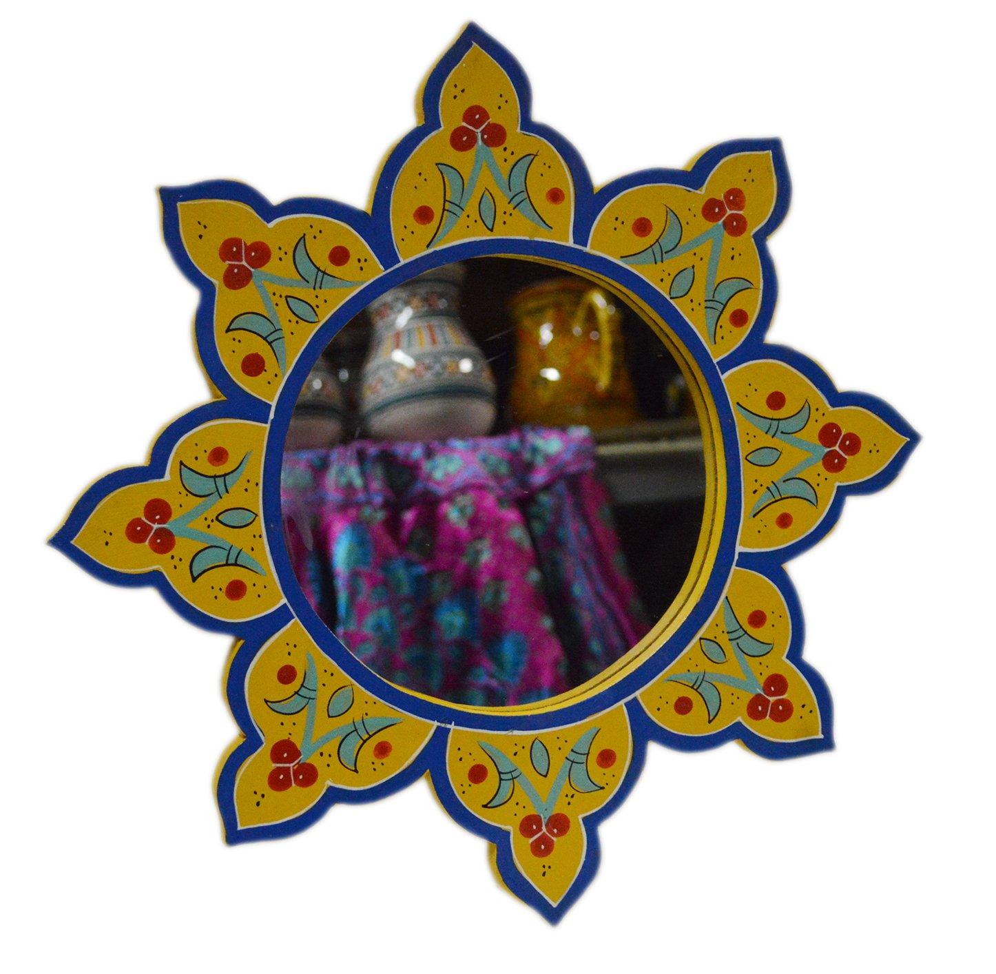 Moroccan Decoration Mirror Wood Colorful Painted Wall Bathroom Dresser Handmade Dark Green 14 inches Diameter