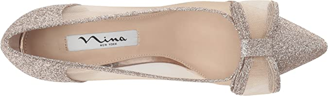 ab35df21274 Nina Women s Bianca Beige Champagne Baby Glitter Mesh 11 M US   Amazon.co.uk  Shoes   Bags