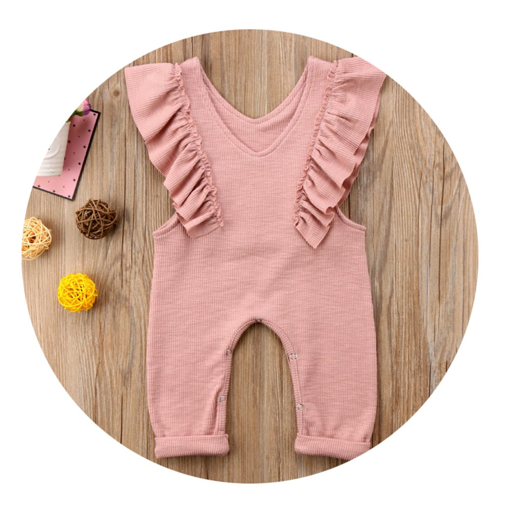 CARMELA HILL WILLIAMS Kids Baby Rompers Solid Color Sleeveless Ruffle Long Rompers Jumpsuit Girls Clothes Pink Brown