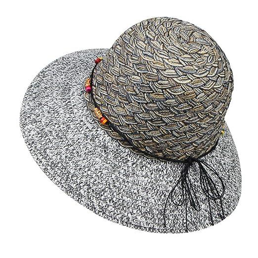 faf44923331c6 Yucode Summer Women Large Brimmed Flat Wide Brim Beach Floppy Bead Paper  Straw Hat Black