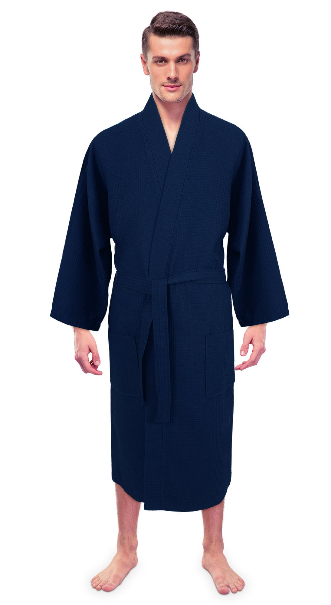 Turkuoise Men's Premium Turkish Cotton Lightweight Spa Bathrobe Made in Turkey