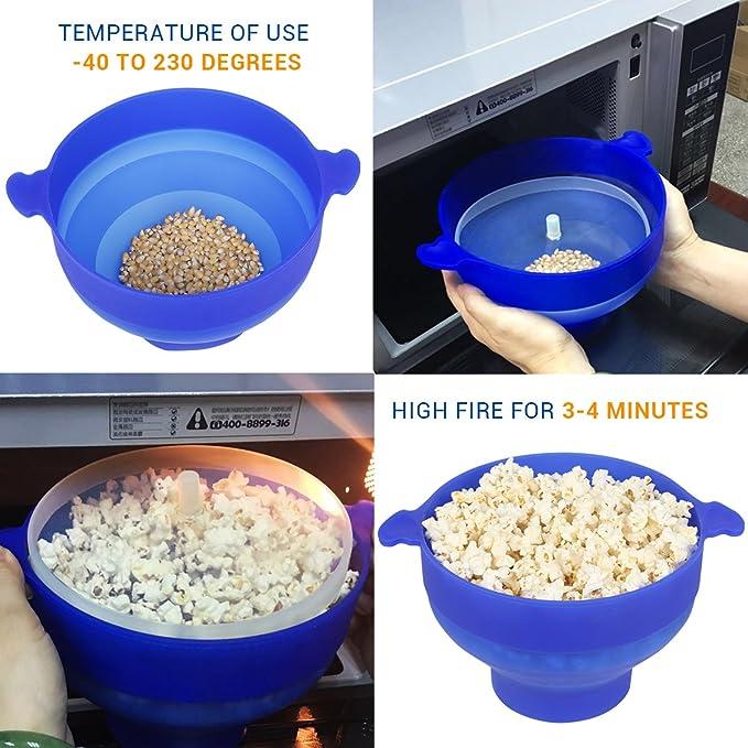 Palomitero palomitas microondas bowl Popper FDA silicona plegable familia casera para Niños con mango azul: Amazon.es: Hogar