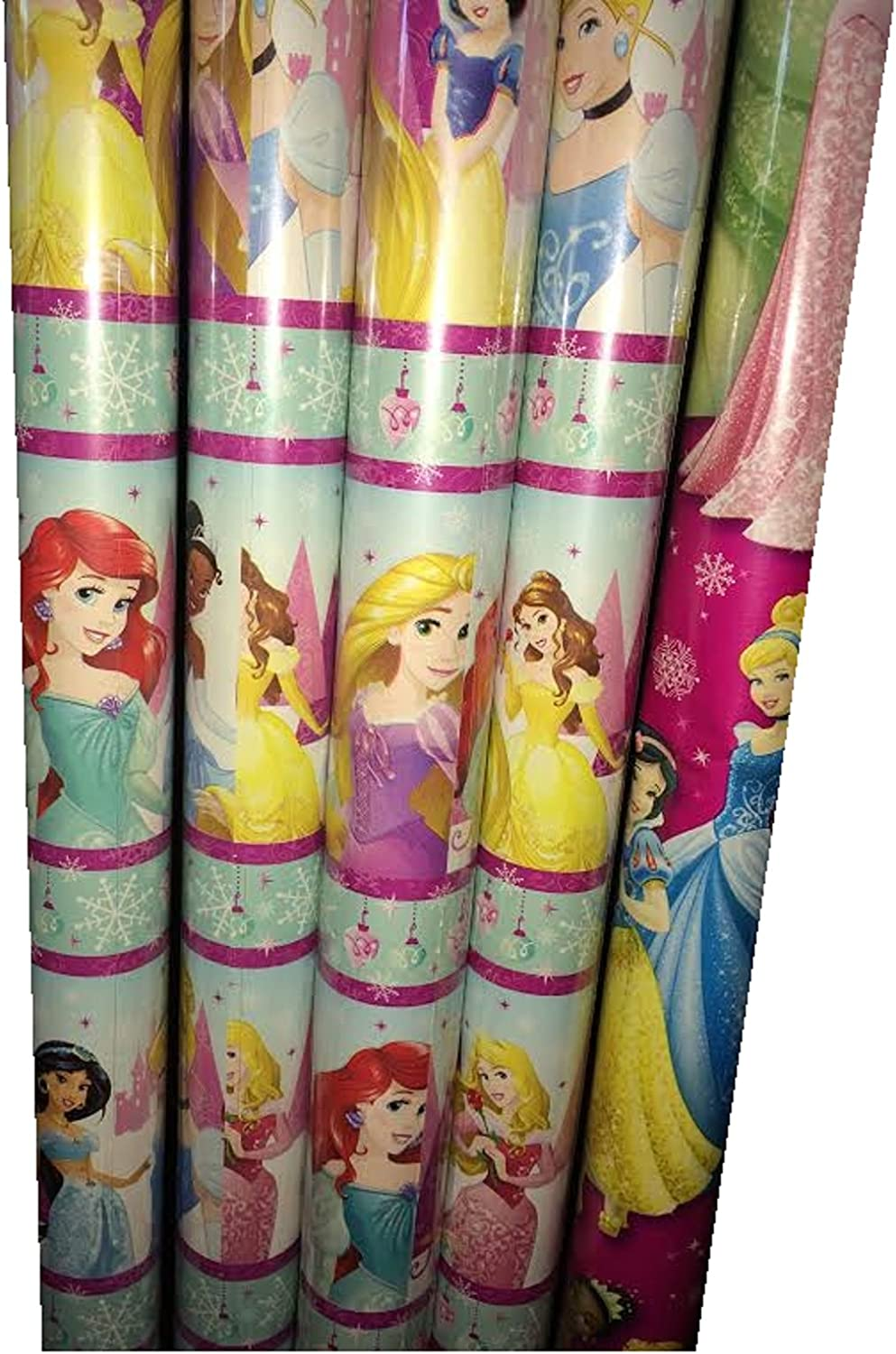 Amazon Com Disney Princess Christmas Extra Wide Gift Wrapping Paper Measures 70 Sq Ft Made In The Usa Home Kitchen