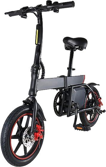 TOEU Bicicleta eléctrica Urbana Plegable 36V 6.0 Ah Potente batería con Pedal de Cadena Velocidad de hasta 25 KM/H (Negro): Amazon.es: Deportes y aire libre