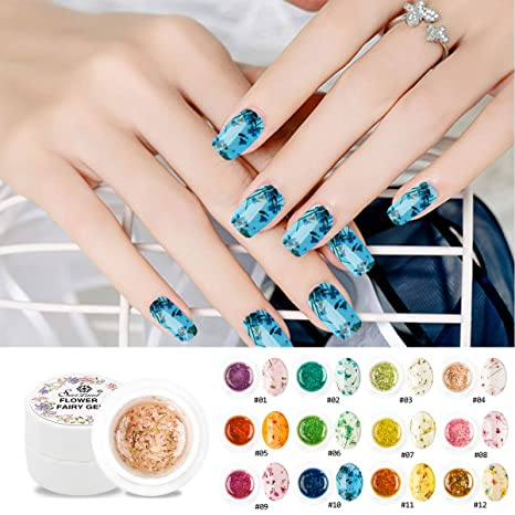 Esmalte de uñas de gel de flores secas, Saviland 12 colores Soak Off UV LED