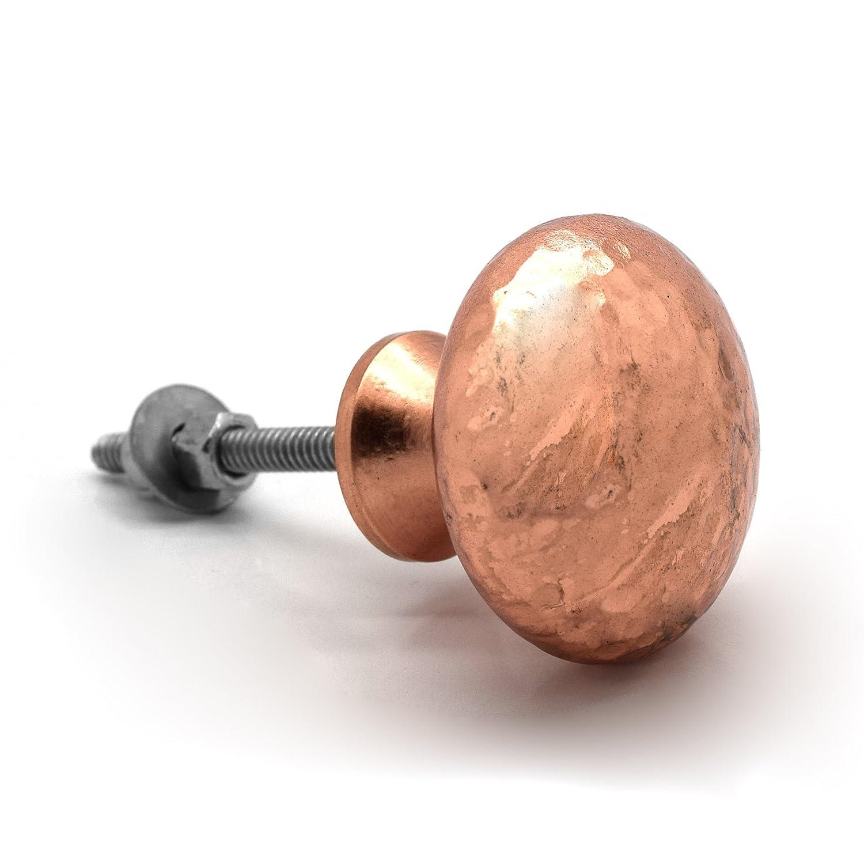 set of 6 pushka home copper hammered rose gold cupboard door knobs