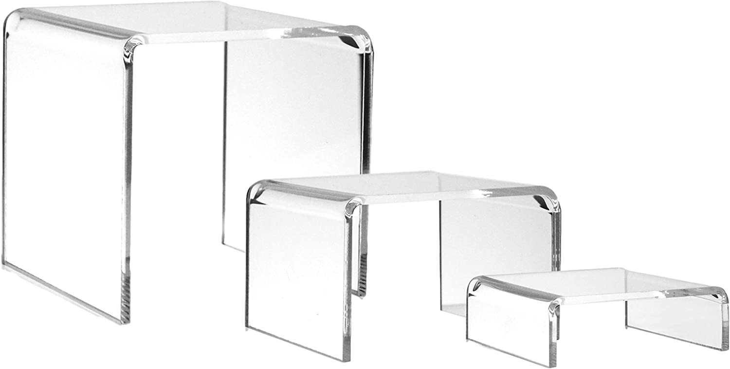 BANBERRY DESIGNS Clear Acrylic Display Risers - Set of 3 Assorted Sized Tabletop Stands - Transparent Retail Shelf Fixtures - Jewelry Food Candy Makeup Perfume Pedestals
