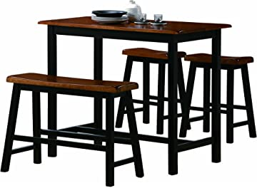 Amazon.com - Crown Mark Tyler 4-Piece Counter Height Table Set ...
