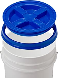5 Gallon White Bucket & Gamma Seal Lid - Food Grade Plastic Pail & Gamma2 Screw Seal Tight Lid