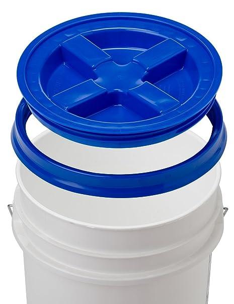 5 Gallon White Bucket & Gamma Seal Lid - Food Grade Plastic Pail & Gamma2  Screw Seal Tight Lid