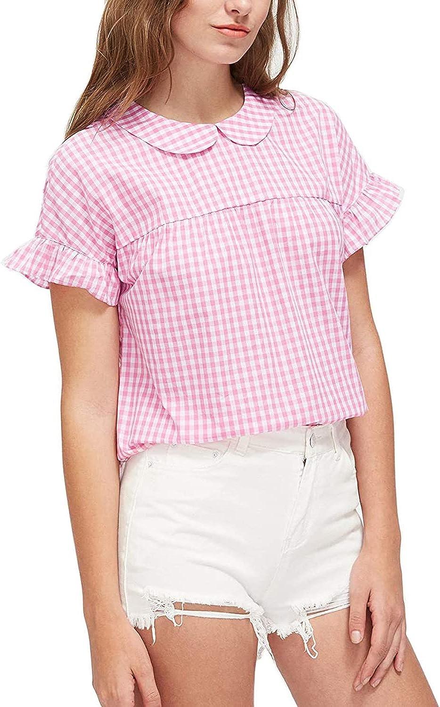 SheIn Women's Cute Striped Peter Pan Collar Short Sleeve Babydoll Blouse Top