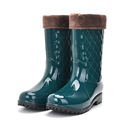 Luise Hoger Pvc Women Rain Boots Girls Ladies Rubber Shoes For Casual Walking Hunting Hunter Outdoor Mid-Calf Waterproof Female Low Heels Green 9