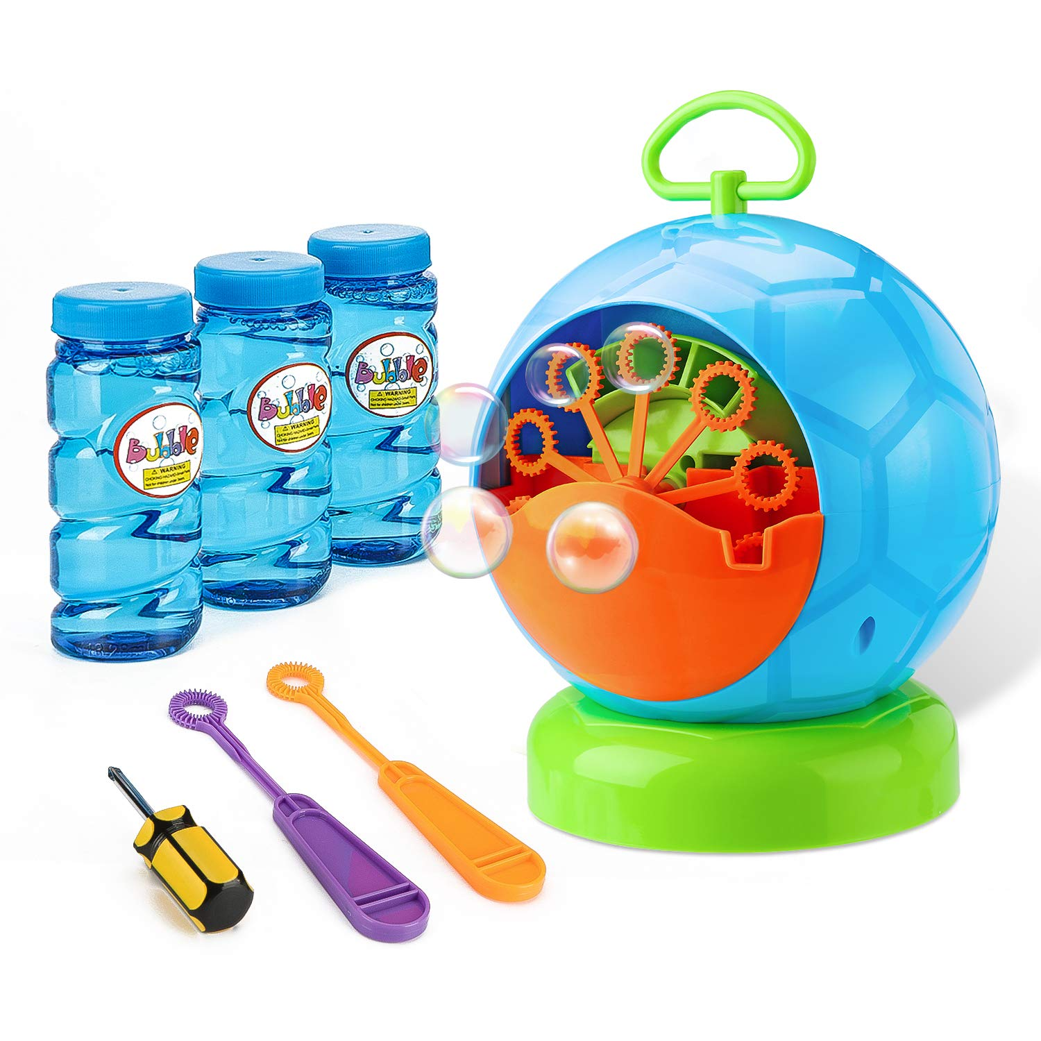 Fansteck Bubble Machine, Durable and Portable Automatic 800+ Bubble Machine for Kids, with 3 Bottles of Bubble Solution and 2 Extra Manual Bubble Wands, Easy to Use for Christmas, Parties, Wedding