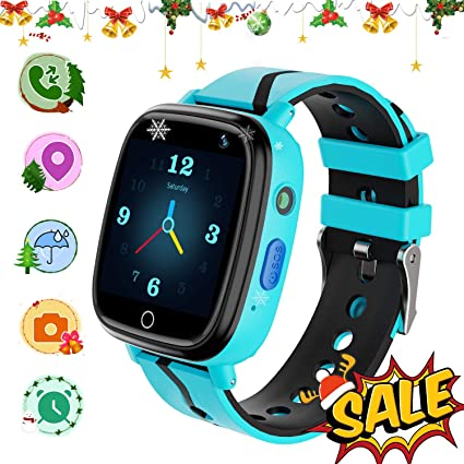 YENISEY Kids GPS Tracker Smartwatch, Kids Waterproof Smartwatch Phone, SOS Camera Flashlight Alarm Clock Voice Chat, Math Game Watch Child Christmas ...