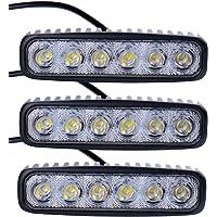 Leetop 3X 18W LED Luz Trabajo,IP67 Faro Lámpara Antiniebla 12V-24V Focos de LED 6500K Luces de Conducción Luz de Niebla…