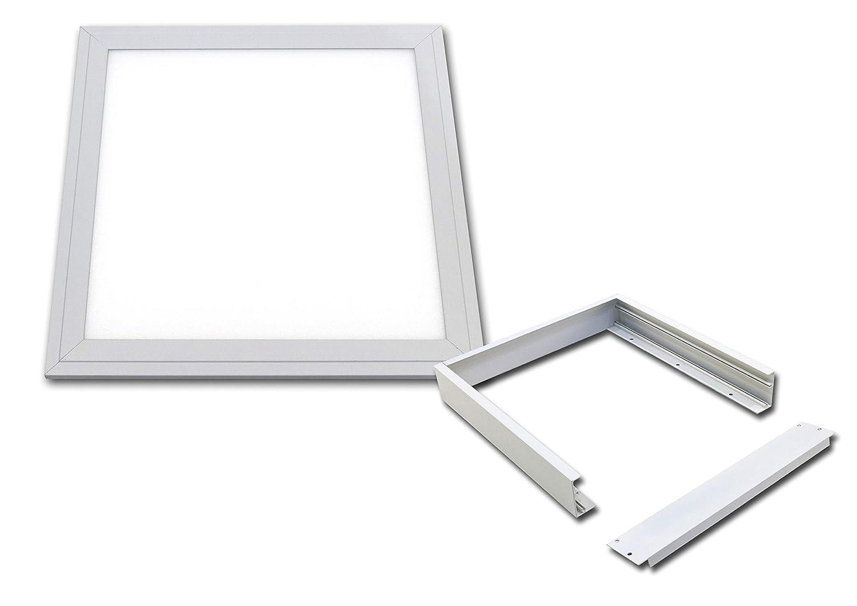 LED Panel 30x30cm ceramicweiss wasserdicht IP65 18 Watt Lichtfarbe 3000K (Mit Aufputzrahmen)