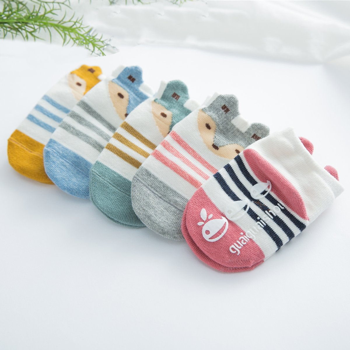 Fairy 5 Pairs Cartoon Cute Animals Fox Non Skid Cotton Baby Socks Stripes Socks (12 - 24 Months) by Fairy Socks (Image #4)