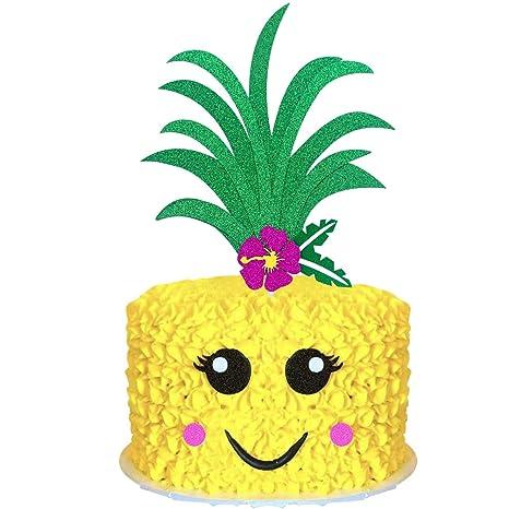 any color glitter Tropical Fiesta Luau Baby Shower Aloha Baby Pineapple Cake Topper