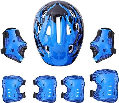 7pcsKids Protective Gear Set Adjustable Kids Bike Helmet Knee Pads Elbow Pads Wrist Pads for Scooter Cycling Roller Skating Skateboard Adjustable