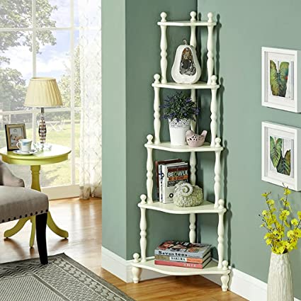 LTJ SWEET Bedroom Corner Shelf Landing Bookshelf Living Room Shelves Flower Trapezoid Simple