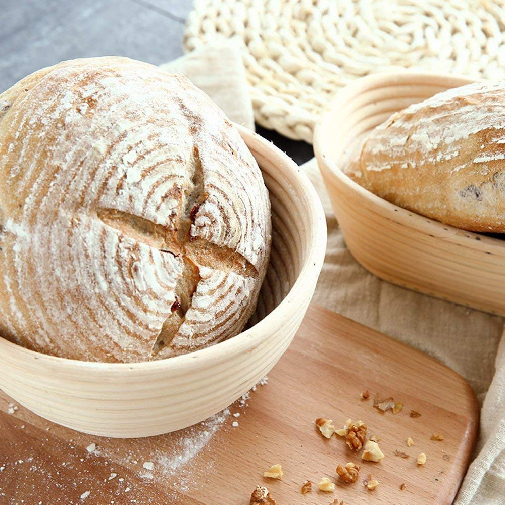Professional Round Handmade Banneton Bread Proofing Basket (8 inch 2pcs) by UPHAN (Image #3)